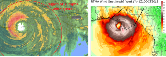 Hurricane Michael's wind gusts