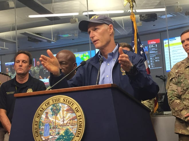 Gov. Rick Scott at the 6 p.m. briefing at the state Emergency Operations Center