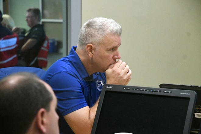 Vince Long, County Administrator meets with city and government officials for updates on Hurricane Michael at the Emergency Operations Center on Wednesday, Oct. 10, 2018.