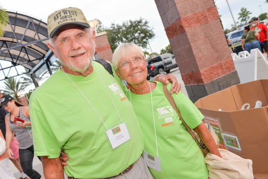 Volunteers Bill and Vicki Heidrick at the  the second annual Strike Out Hunger Night benefiting Treasure Coast Food Bank.
