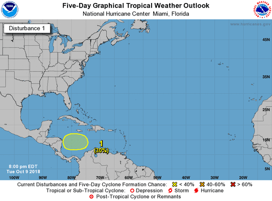 A low-pressure area is expected to develop over the west-central Caribbean Sea over the next few days.
