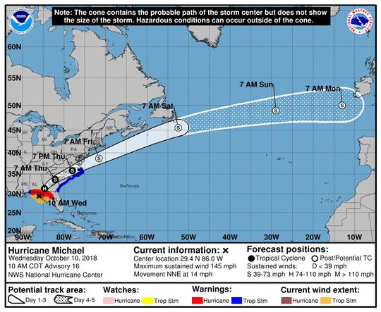 Hurricane Michael 11 a.m. Oct. 10, 2018