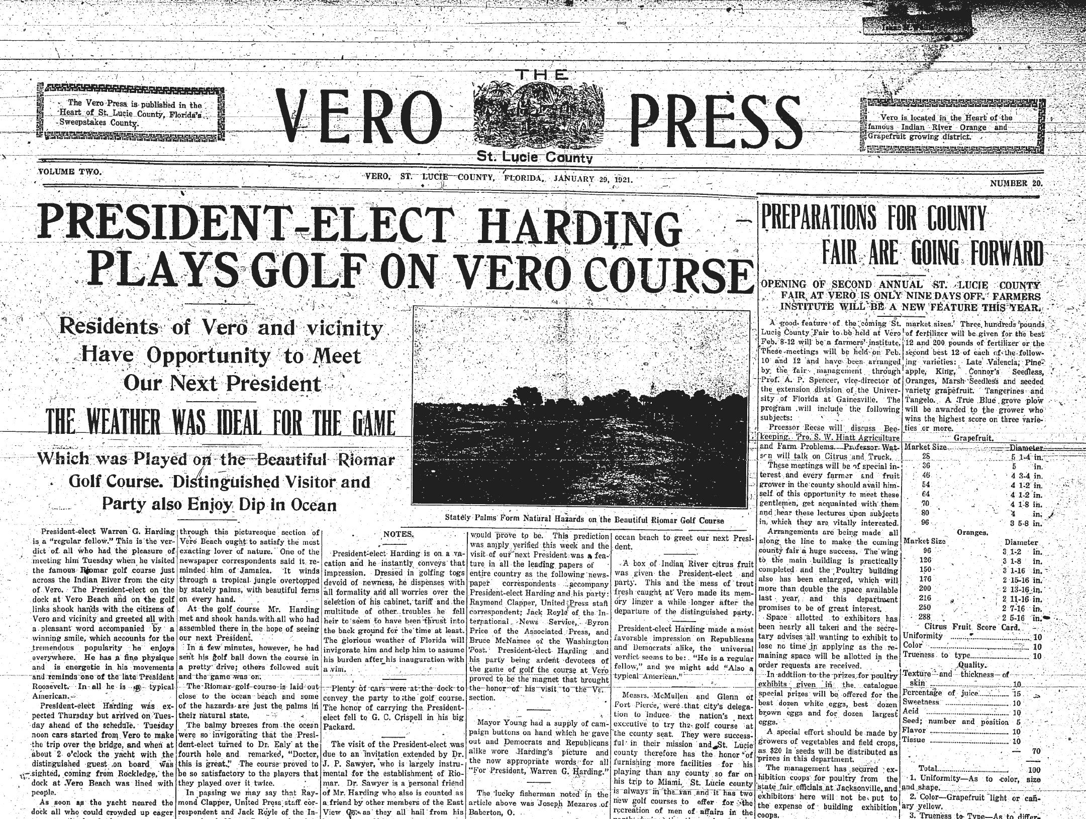 January 29, 1921, President-Elect Harding Plays Golf on Vero Course