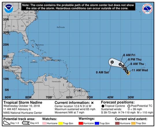 Tropical Storm Nadine 11 a.m. Oct. 10, 2018
