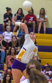 Fort Pierce Central's Kylee Quigley goes for the kill Tuesday, Oct. 9, 2018, during her team's high school volleyball match against South Fork at Fort Pierce Central High School.