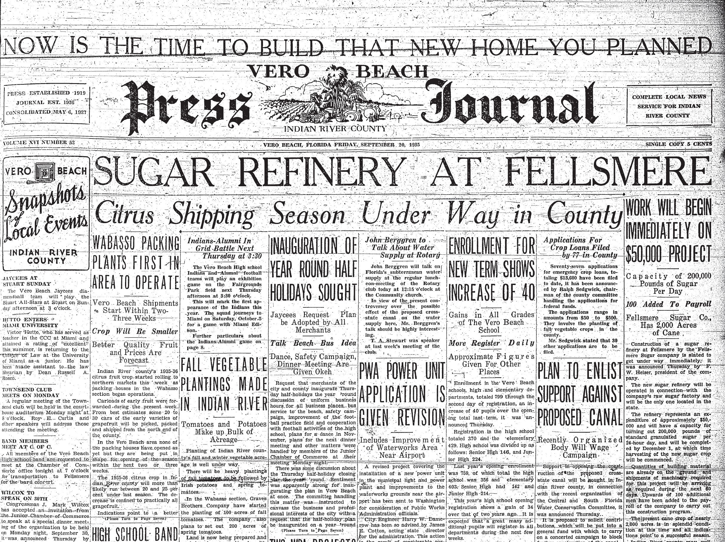 September 20, 1935, Sugar Refinery At Fellsmere
