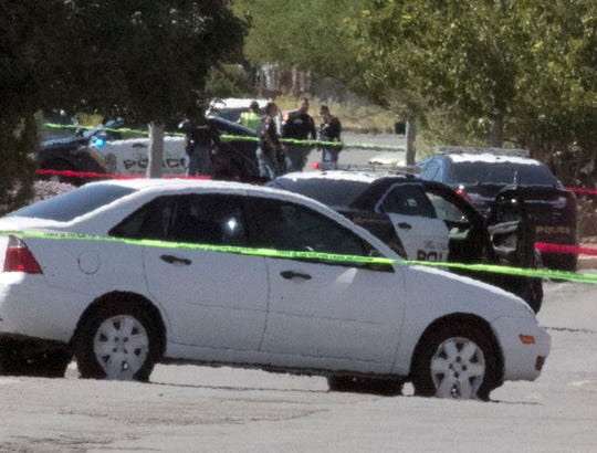 The scene of a shooting incident in front of the El Paso Police Department Pebble Hills Regional Command at 10780 Pebble Hills Blvd. Wednesday afternoon.