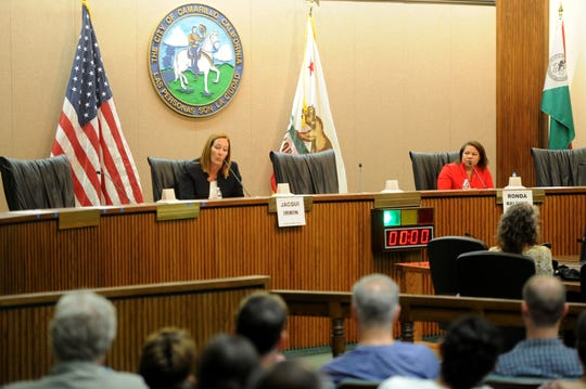 Assembly member Jacqui Irwin, D-Thousand Oaks, speaks during a forum with challenger Ronda Baldwin-Kennedy, R-Oak Park at Camarillo City Hall on Tuesday night.  The two are candidates for the 44th Assembly District.