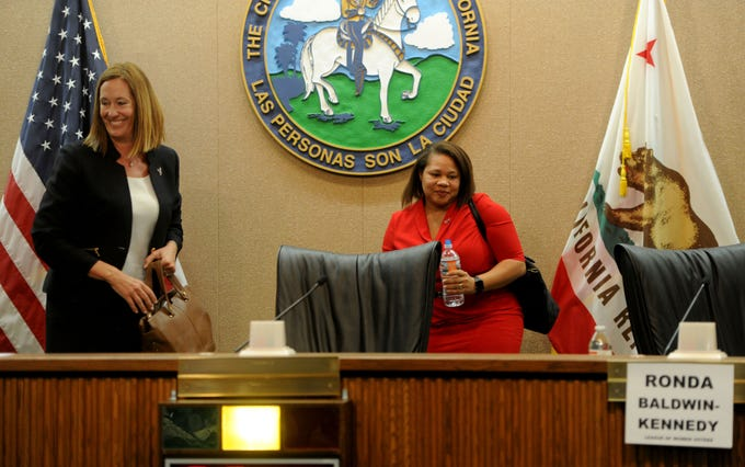 Assembly member Jacqui Irwin, D-Thousand Oaks, wraps up a forum with challenger Ronda Baldwin-Kennedy, R-Oak Park, at Camarillo City Hall on Tuesday night. The two are candidates for the 44th Assembly District.