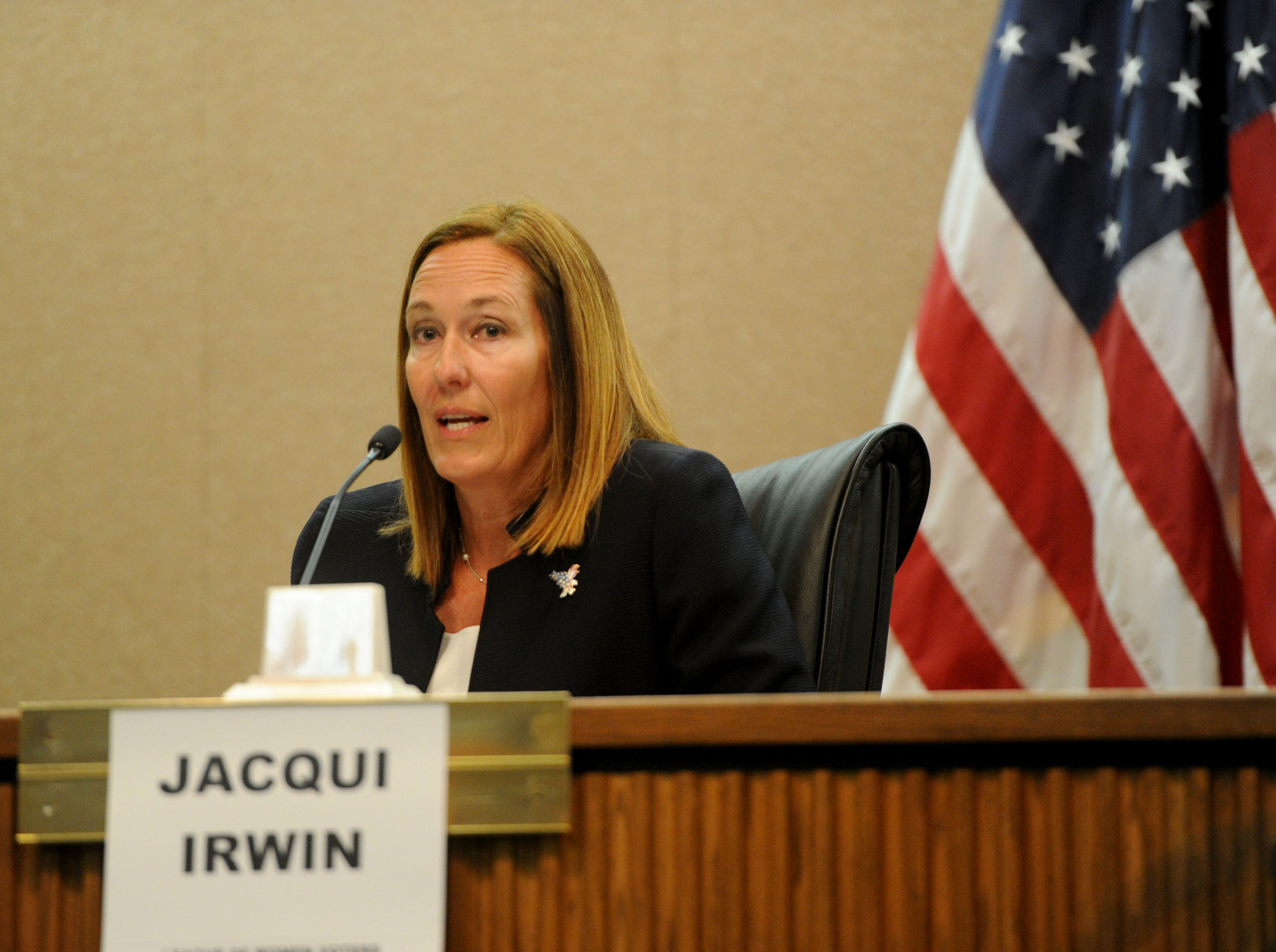 Assembly member Jacqui Irwin, D-Thousand Oaks, participates in a forum at Camarillo City Hall on Tuesday night. The incumbent is one of two candidates for the 44th Assembly District.