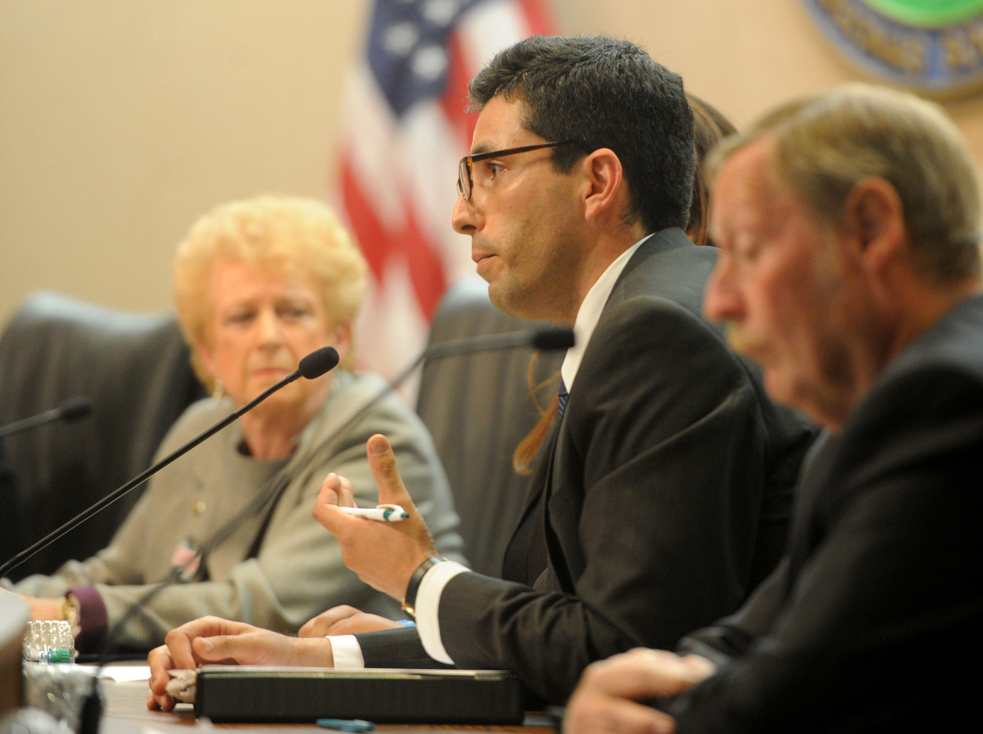 Daniel Goldberg gives an opening statement Tuesday night during a Camarillo City Council forum. Nine candidates are running to fill three seats. The forum was put by Ventura County League of Women Voters.