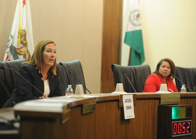 Assembly member Jacqui Irwin, D-Thousand Oaks, speaks during a forum with challenger Ronda Baldwin-Kennedy, R-Oak Park, at Camarillo City Hall Tuesday night. The two are candidates for the 44th Assembly District.