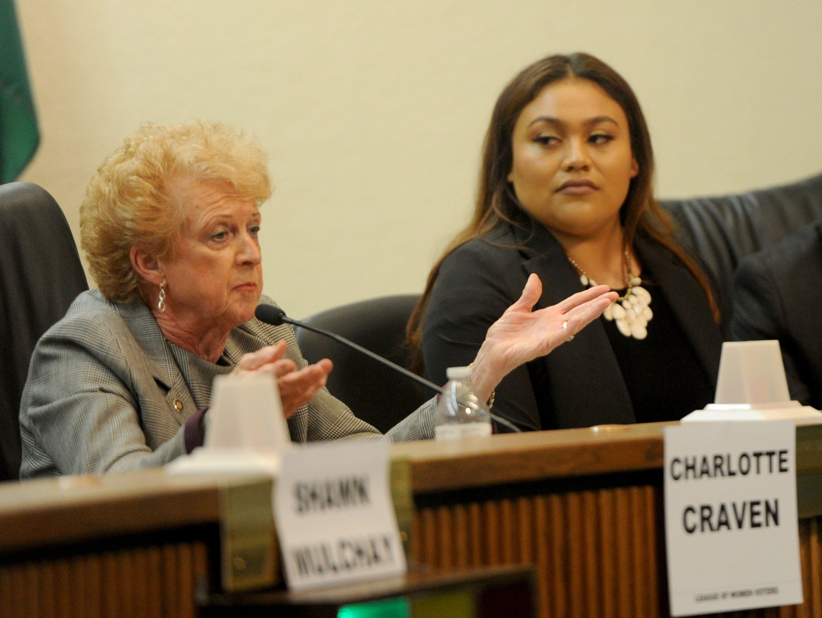 Charlotte Craven, from left, and Jessica Romero answer questions Tuesday night during a Camarillo City Council forum.