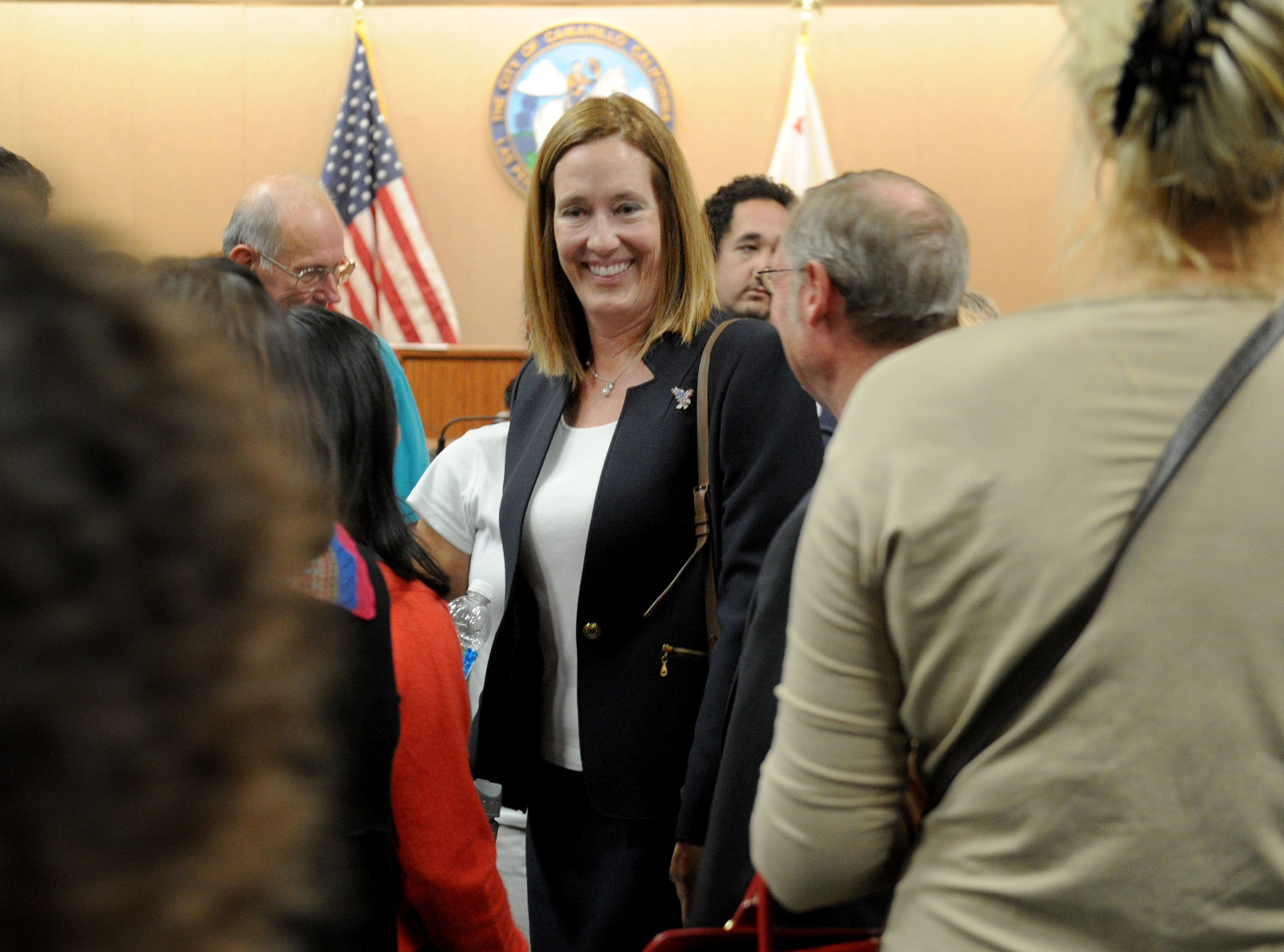Assembly member Jacqui Irwin, D-Thousand Oaks, leaves a forum at Camarillo City Hall on Tuesday night. The incumbent is one of  two candidates for the 44th Assembly District.