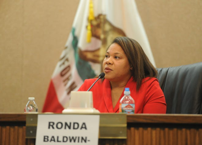 Ronda Baldwin-Kennedy, R-Oak Park, answers questions for a forum with candidates for the 44th Assembly District at Camarillo City Hall on Tuesday night. She is one of two candidates for seat.