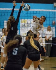 Senior Miranda Unzueta goes for the kill during Ventura's win over Rio Mesa on Tuesday night.