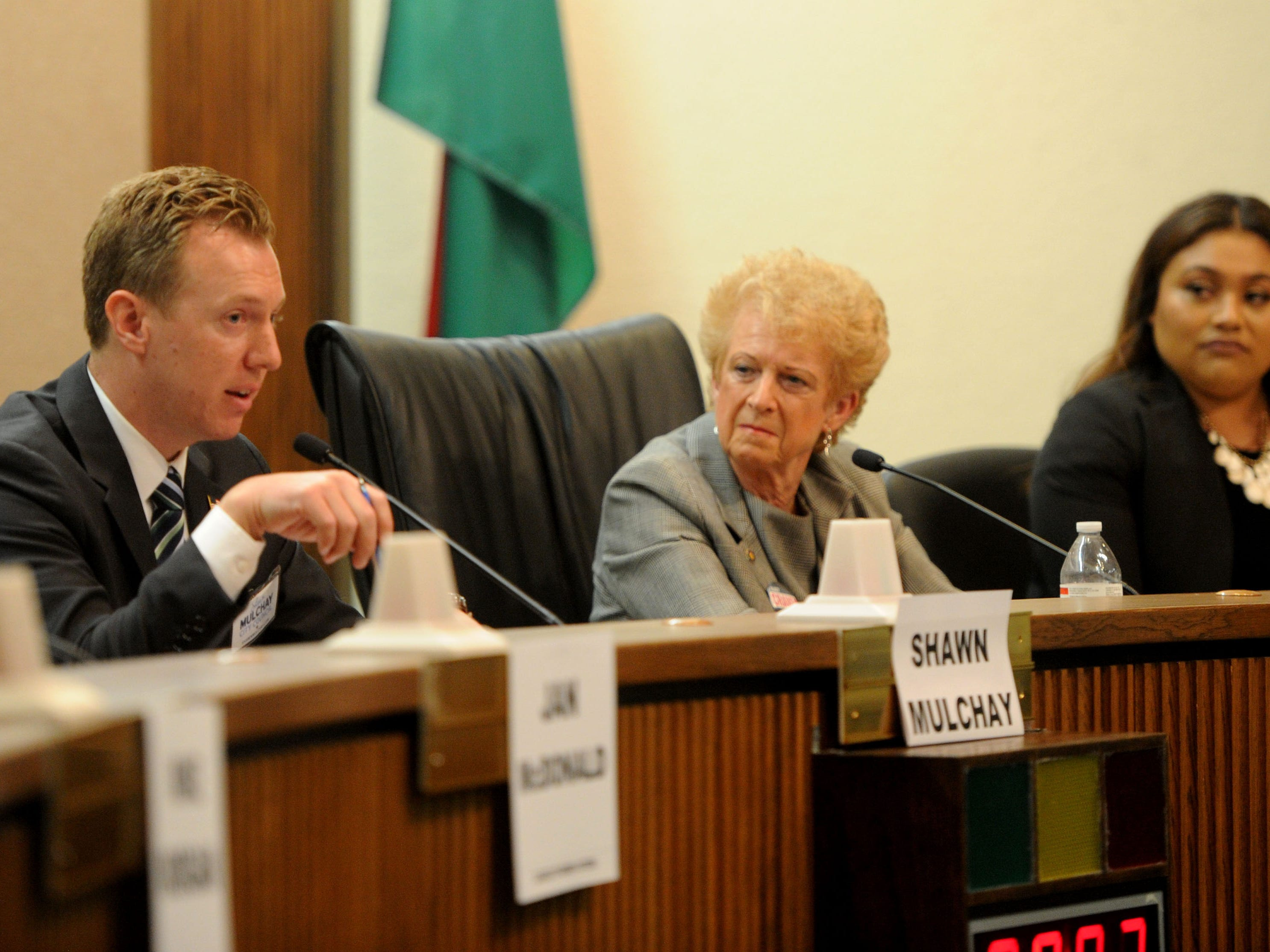 Shawn Mulchay, from left, Charlotte Craven and Jessica Romero participate in a Camarillo City Council forum Tuesday night. Nine candidates are running to fill three seats. The forum was put on byVentura County League of Women Voters.