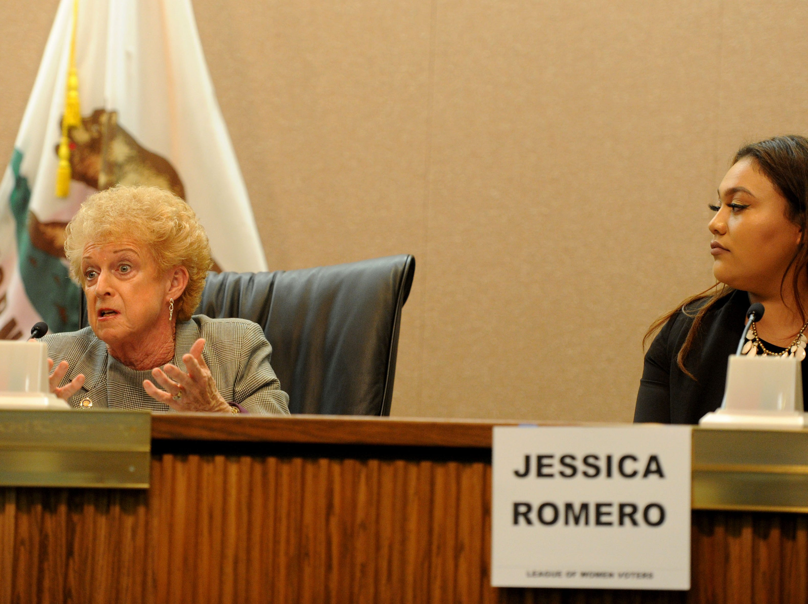 Charlotte Craven, left, and Jessica Romero answer questions Tuesday night for the Camarillo City Council race. Nine candidates are running to fill three seats. The forum was put by Ventura County League of Women Voters.