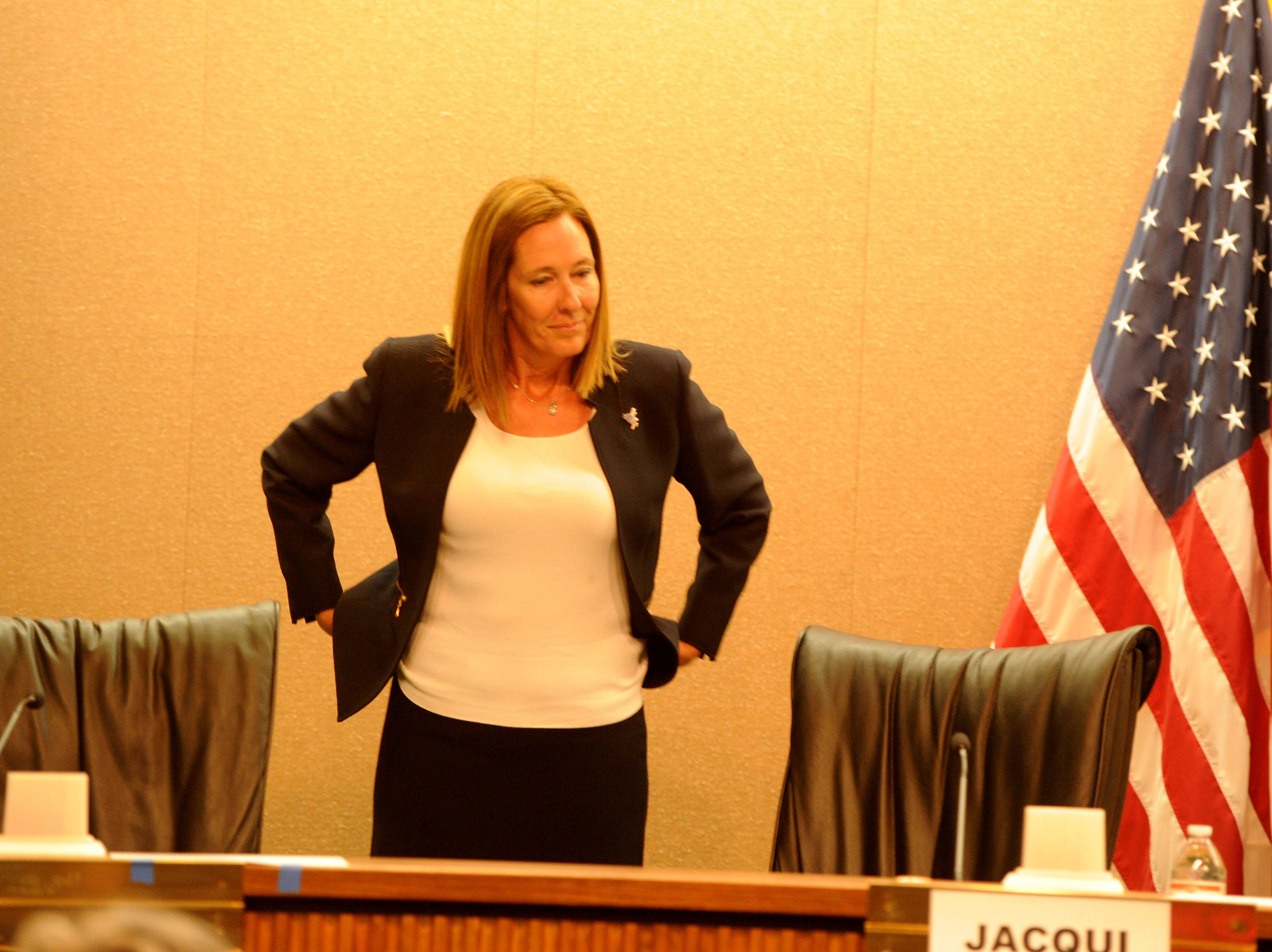 Assembly member Jacqui Irwin, D-Thousand Oaks, participates in a forum at Camarillo City Hall Tuesday night. The incumbent is one of two candidates for the 44th Assembly District.