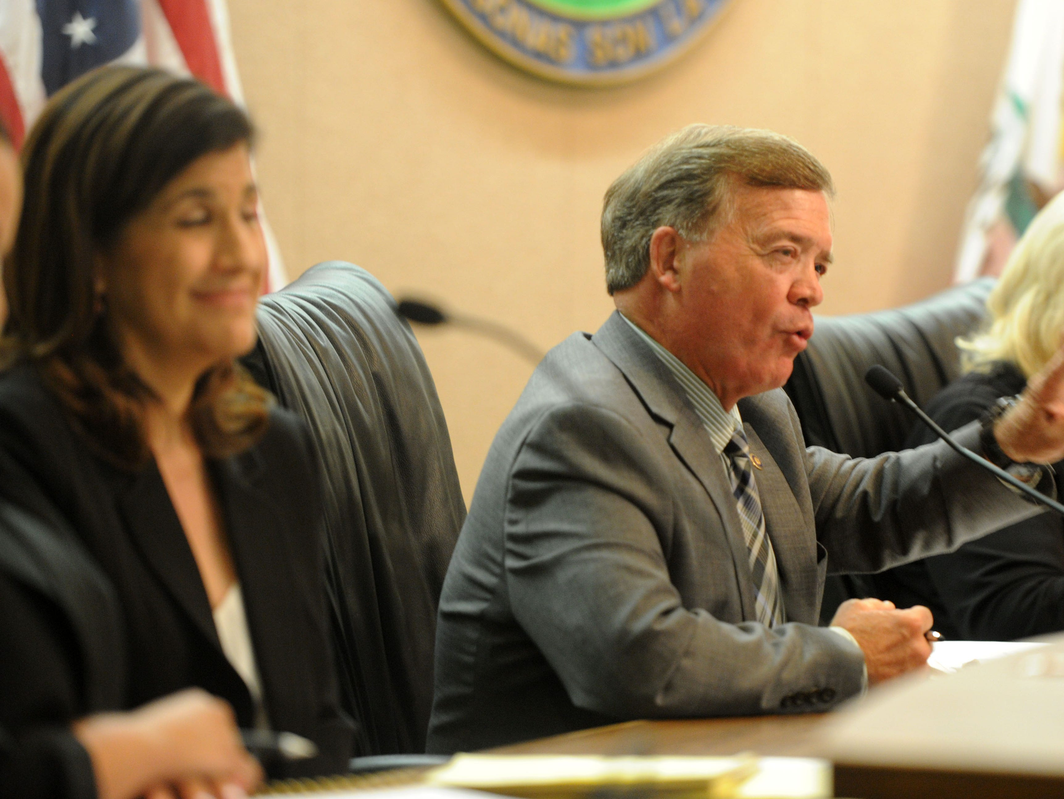 Mike Morgan answers questions Tuesday night for the Camarillo City Council race. Nine candidates are running to fill three seats. The forum was put on byVentura County League of Women Voters.