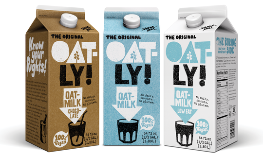 Some of the oat-based 'milk' products markets by Oatly AB, a Swedish firm.