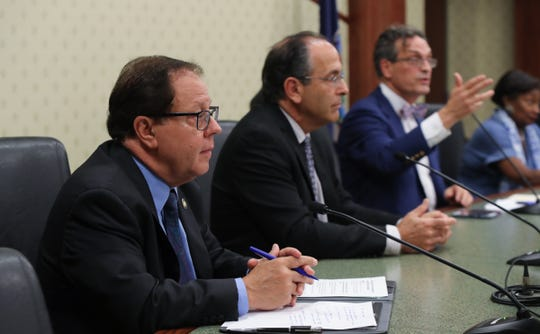 NY State Assemblyman Tom Abinantim left, Tarrytown Mayor Drew Fixell, take park in a townhall meeting moderated by Journal News/lohud.com reporter David McKay-Wilson at Tarrytown Village Hall on Tuesday, October 9, 2018.