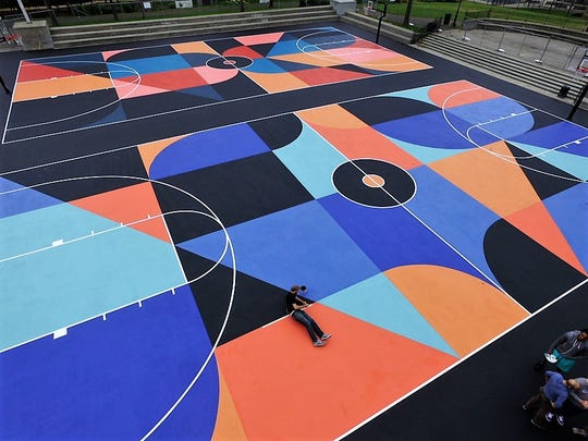 A pair of basketball courts in New Rochelle's Lincoln Park got the all-star treatment in September when an NYC-based artist repainted the surfaces.