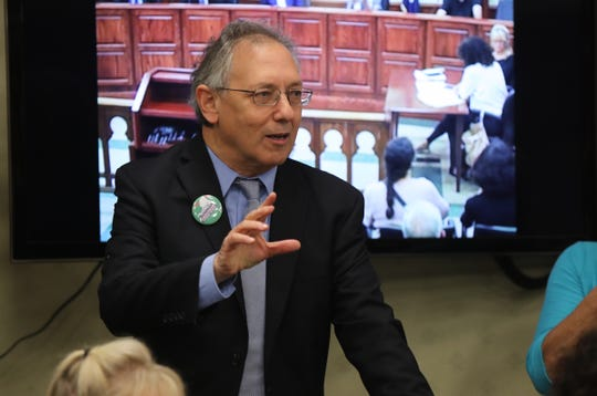 Goshen attorney and Green Party candidate for NY Attorney General, Michael Sussman offers comments during a townhall meeting at Tarrytown Village Hall on Tuesday, October 9, 2018.