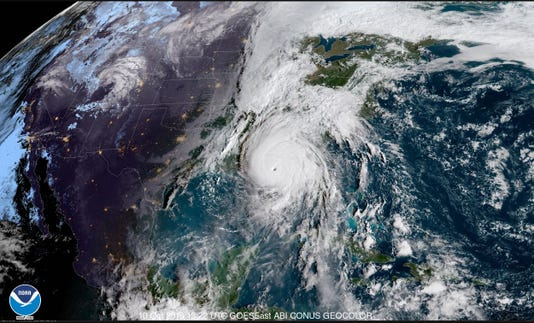 Satellite image of Hurricane Michael on Wednesday
