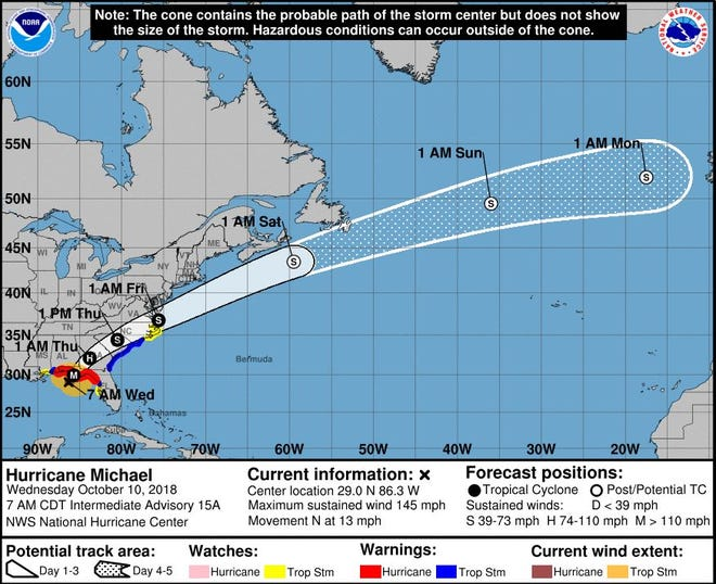 Hurricane Michael is expected to hit Florida's Gulf Coast on Wednesday as a fast-moving Category 4 storm.