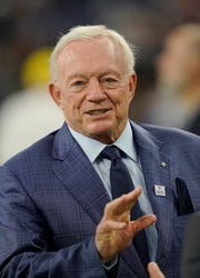 Dallas Cowboys owner Jerry Jones before an NFL football game against the Houston Texans, Sunday, Oct. 7, 2018, in Houston. (AP Photo/David J. Phillip)
