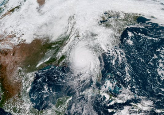 Hurricane Michael satellite image after landfall