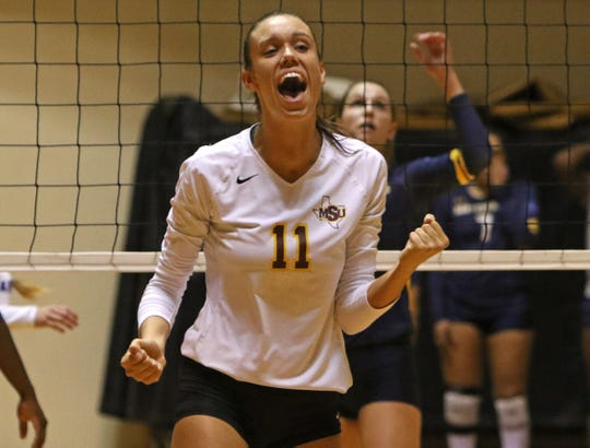 Midwestern State's Sarah Eakin celebrates winning a point from Texas A&M-Commerce Tuesday, Oct. 9, 2018, in D.L. Ligon Coliseum at MSU Texas. The Mustangs fell to the Lions 3-0 taking the Mustangs overall record to 3-15 and a 1-10 Lone Star Conference record.