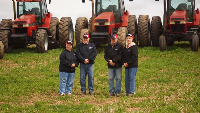 Founded in 1851, Harold Ellenbecker says he and his brother, Larry, will probably be the last generation to farm the family's sesquicentennial farm. From left, Kri and Larry Ellenbecker and Harold and Joy Ellenbecker.