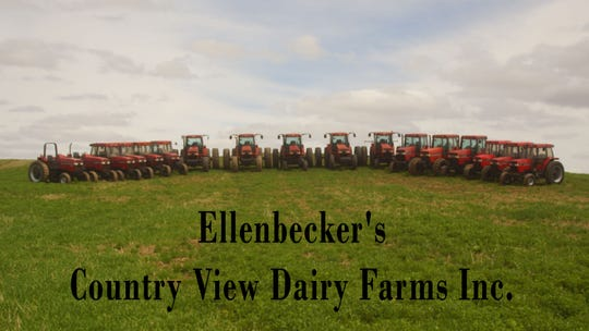 That's a lot of horsepower on a hill. The Ellenbecker family  lined up their tractors all in a row for a  picture that was included in the 2018 calendar produced by Service Motors of Dale.
