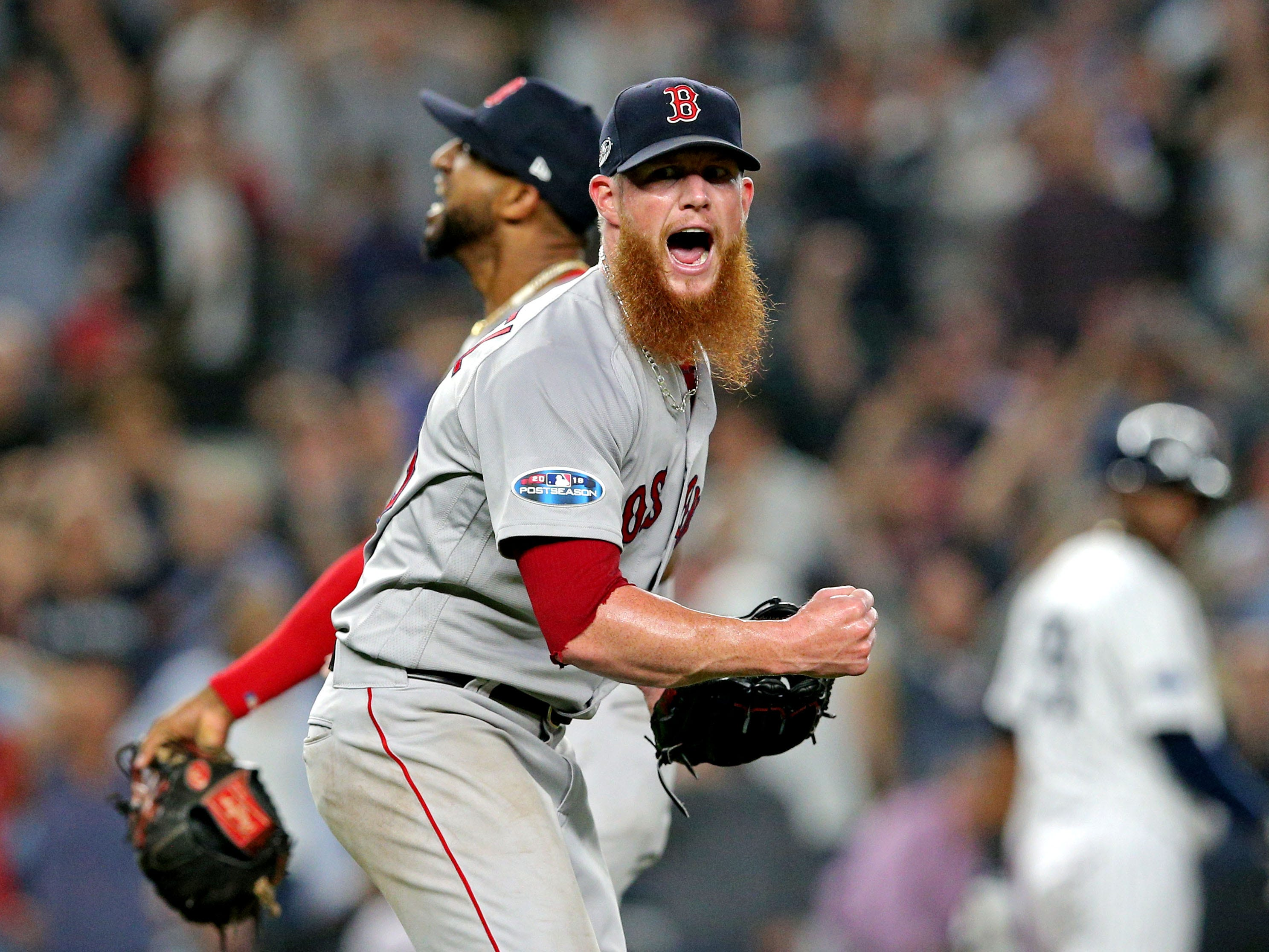 ALDS Game 4: Red Sox closer Craig Kimbrel is pumped after the last out in Game 4.