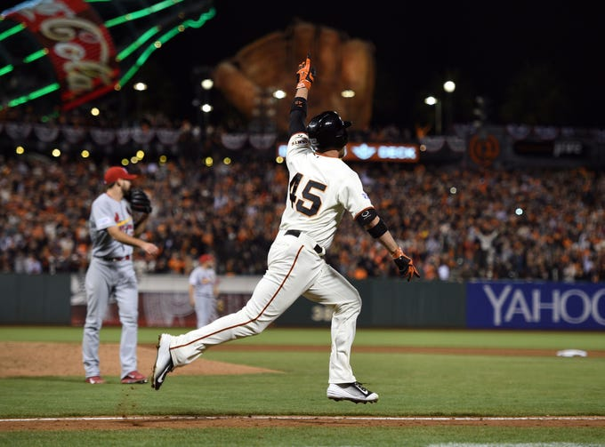2014 NLCS Game 5: Travis Ishikawa – playing for his third team of the season – hit a walk-off three-run homer against the Cardinals to put the Giants into the World Series.