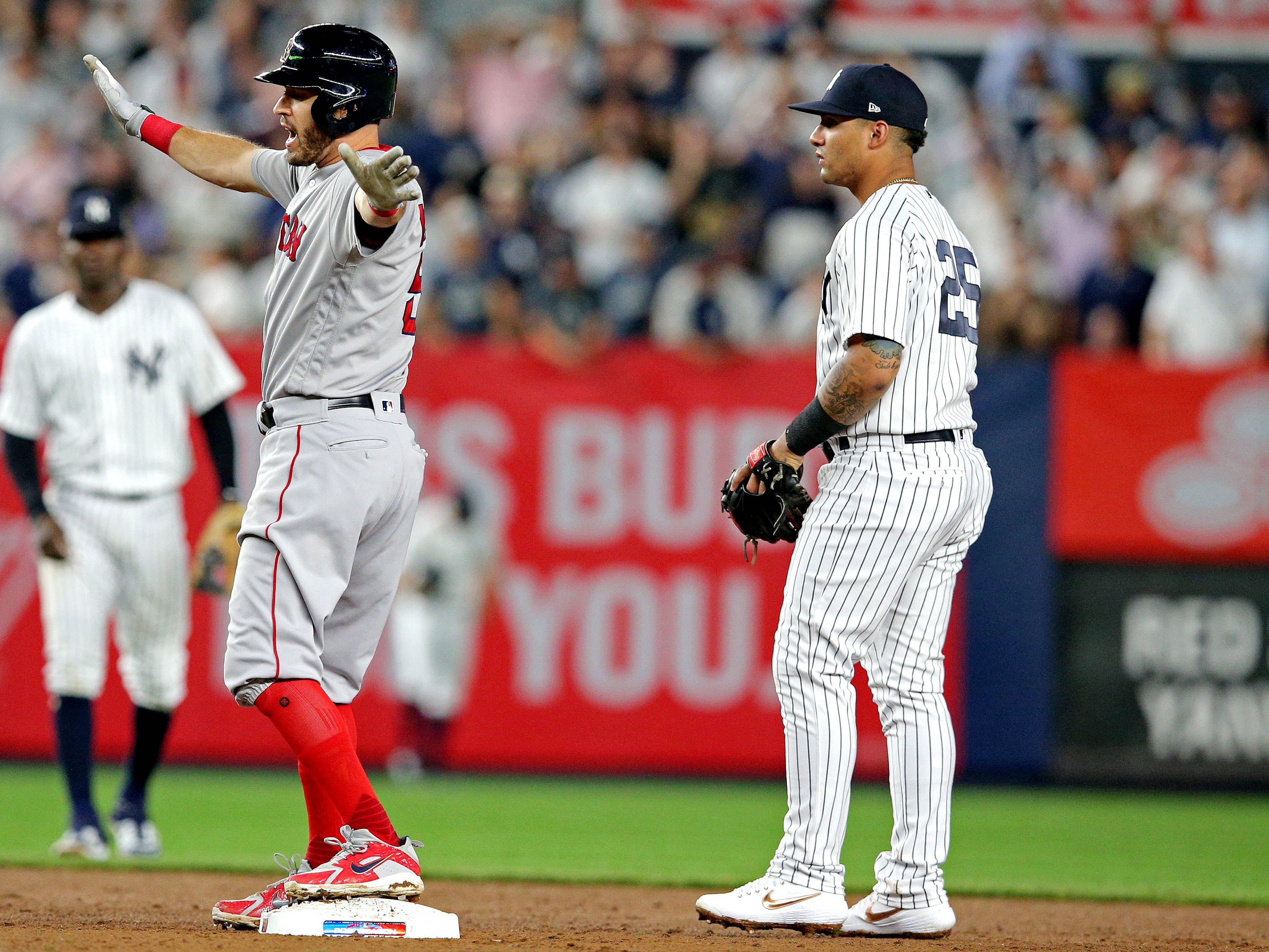 ALDS Game 4: Red Sox second baseman Ian Kinsler hits an RBI double in the third inning.
