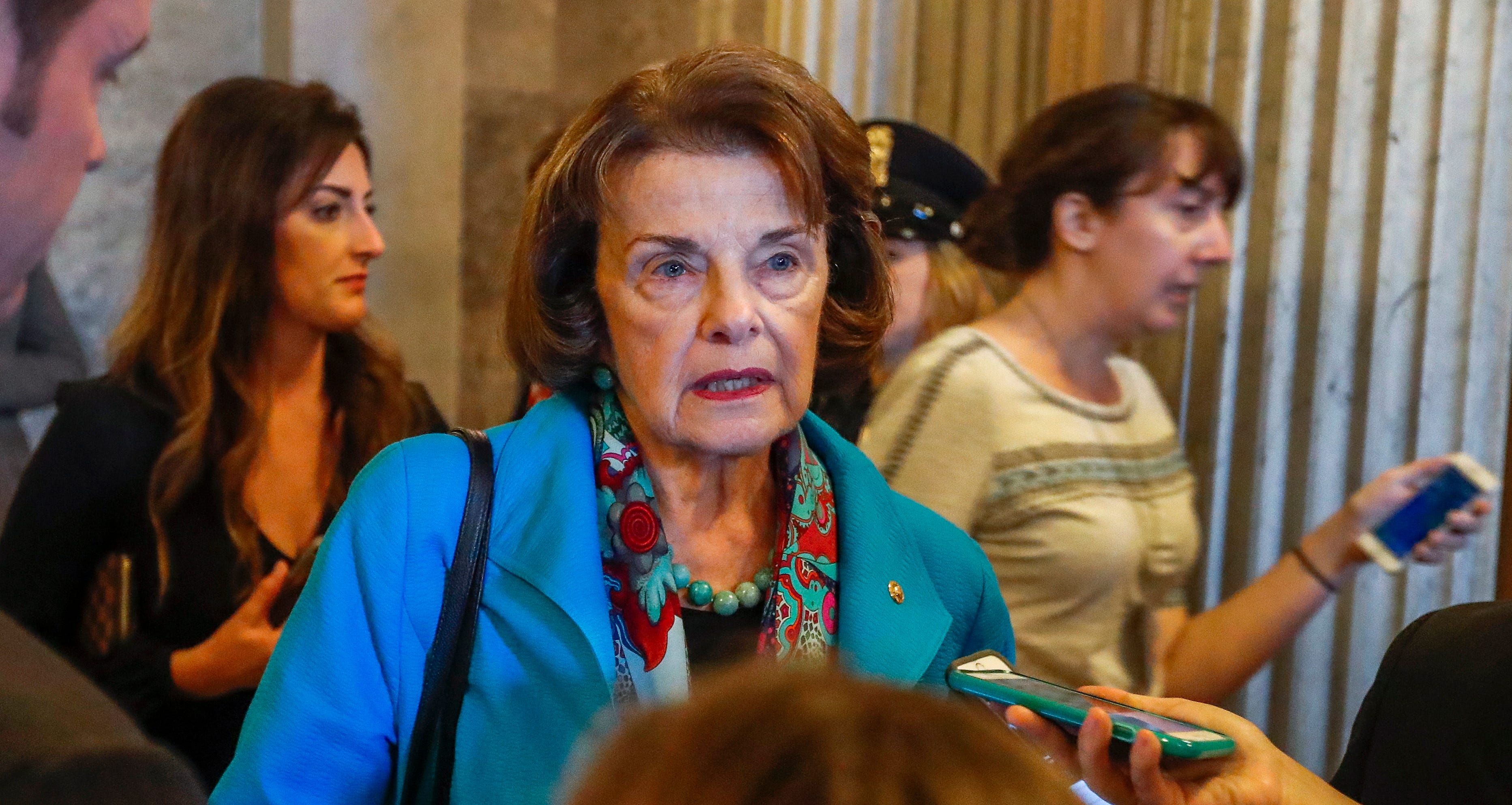 Sen. Dianne Feinstein, D-Calif., leaves the chambers after the Senate voted to confirm Supreme Court nominee Judge Brett Kavanaugh on OCt. 6, 2018, in Washington.