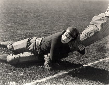 "Harold Lloyd is a young college kid who joins the football team to be popular in ""The Freshman."""
