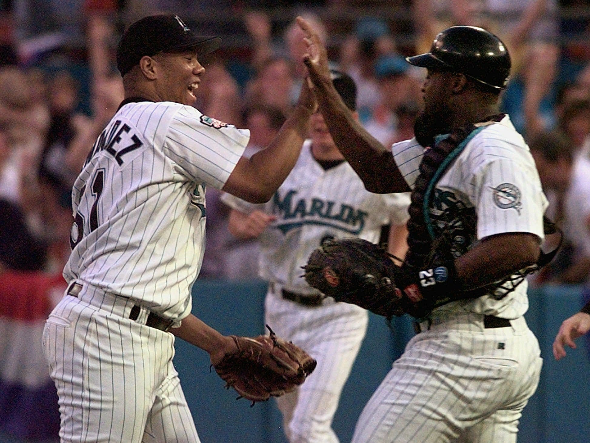1997 NLCS Game 5: Marlins rookie Livan Hernandez struck out 15 in a complete-game win against the Braves.