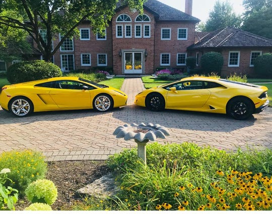 Viktor Aharon's 2006 Lamborghini (left) and Richard Colombik's 2017 Lamborghini (right) pictured in a suburb northeast of Chicago.