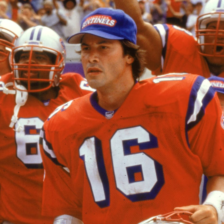 "A coach (Gene Hackman, left) and an unlikely star quarterback (Keanu Reeves) head up a motley gridiron crew in ""The Replacements."""