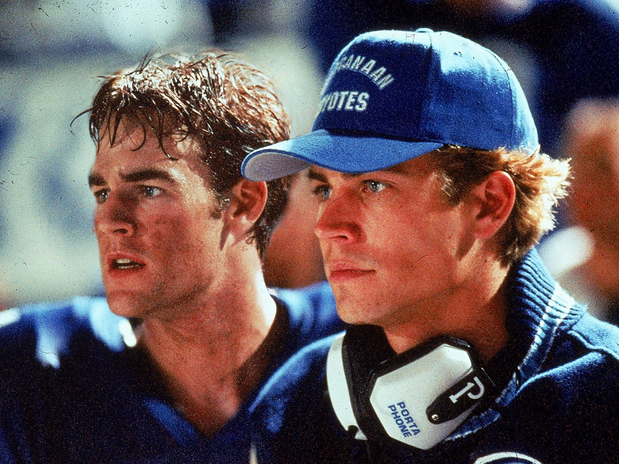 "James Van Der Beek (left) and Paul Walker are quarterbacks at a competitive Texas high school in ""Varsity Blues."""