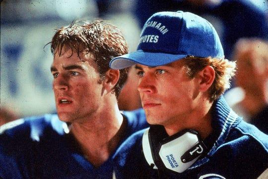 "James Van Der Beek (left) and Paul Walker are quarterbacks at a competitive Texas high school in ""Varsity Blues."""