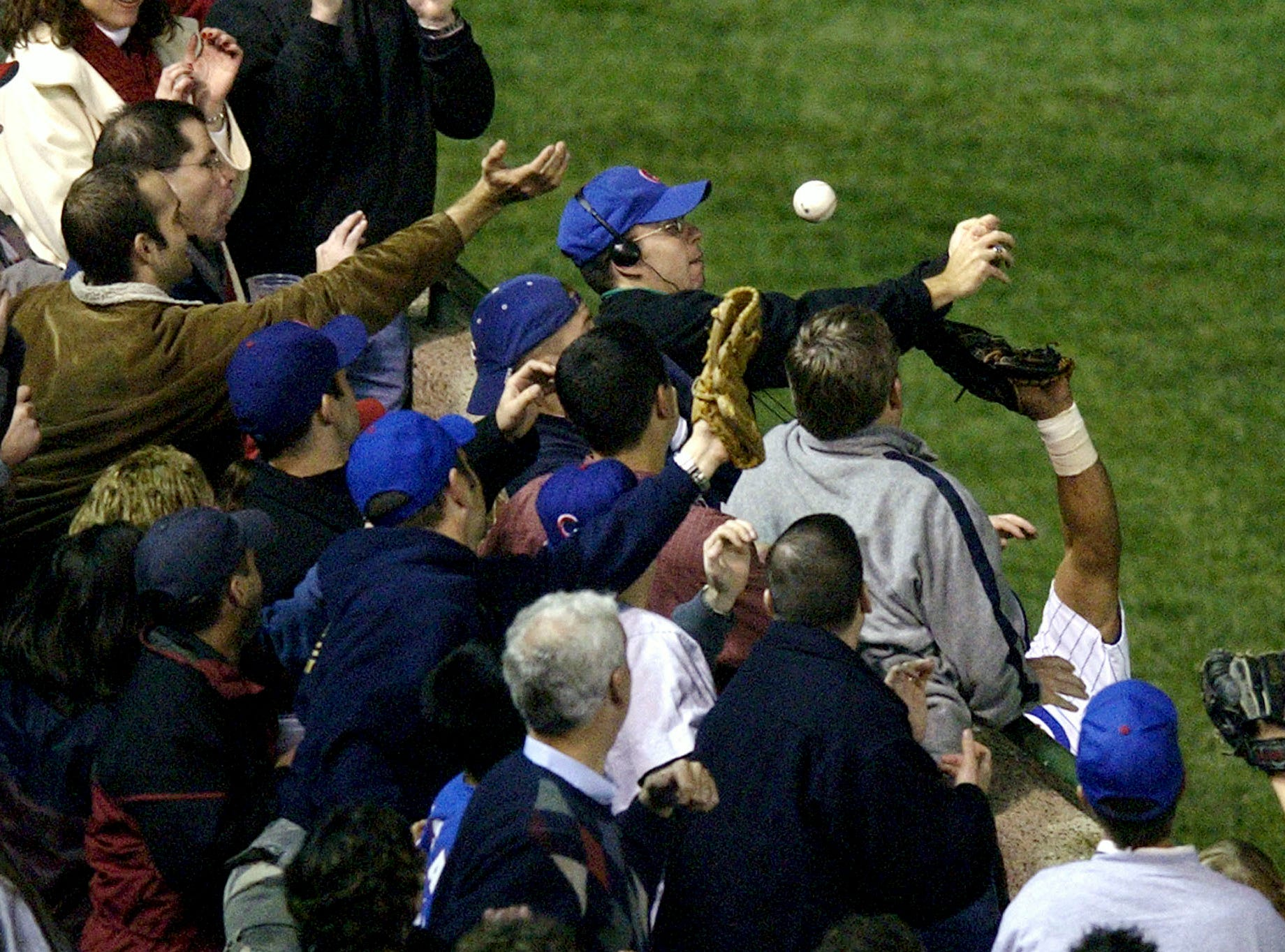 2003 NLCS Game 6: In the eighth inning, Cubs fan Steve Bartman prevented Moises Alou from making a play on a foul ball. The inning unraveled for the Cubs, who would go on to lose Game 7 after taking a 3-1 series lead.