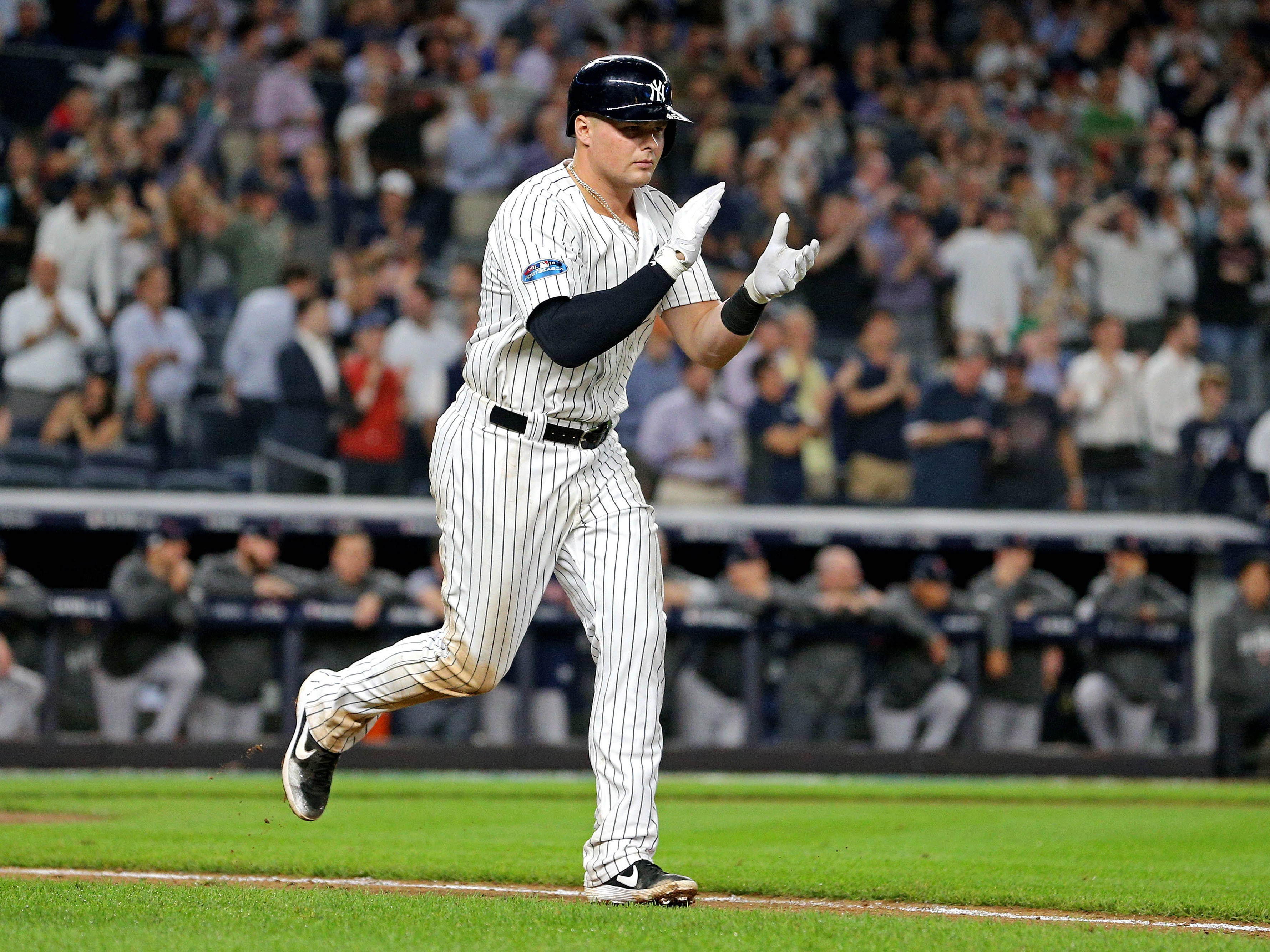 ALDS Game 4: Yankees first baseman Luke Voit walks to first in the ninth inning.