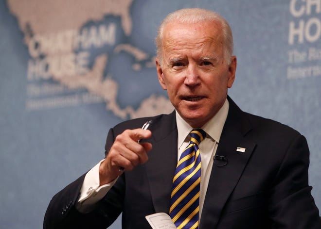 Former Vice President Joe Biden speaks at the Royal Institute of International Affairs at Chatham House in London.