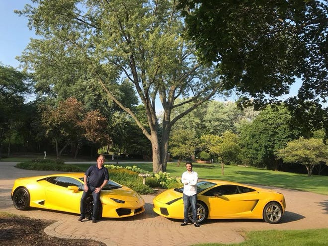 Richard Colombik (right) and Viktor Aharon (left) pictured in front of their Lamborghinis.