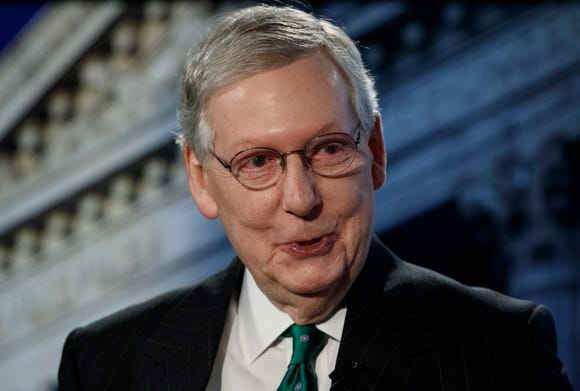 Senate Majority Leader Mitch McConnell of Kentuck., speaks during an interview at The Associated Press in Washington,  Oct. 10, 2018.